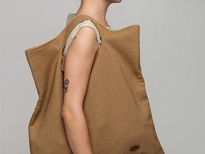 Сумка-шоппер YOKU из бежевой рогожки. Ярмарка Мастеров - ручная работа, handmade.