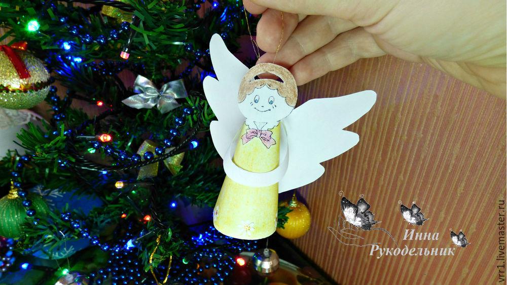 рождественский ангел, своими руками, из бумаги, diy