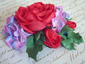 Алая роза с гортензией | Ярмарка Мастеров - ручная работа, handmade