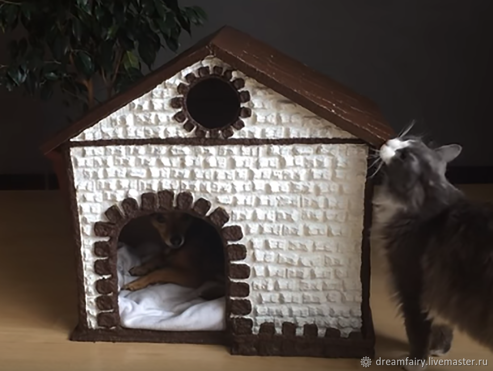 how to do, papier mache, from egg trays, house for cats, from cardboard, house for animals, tutorial, handmade
