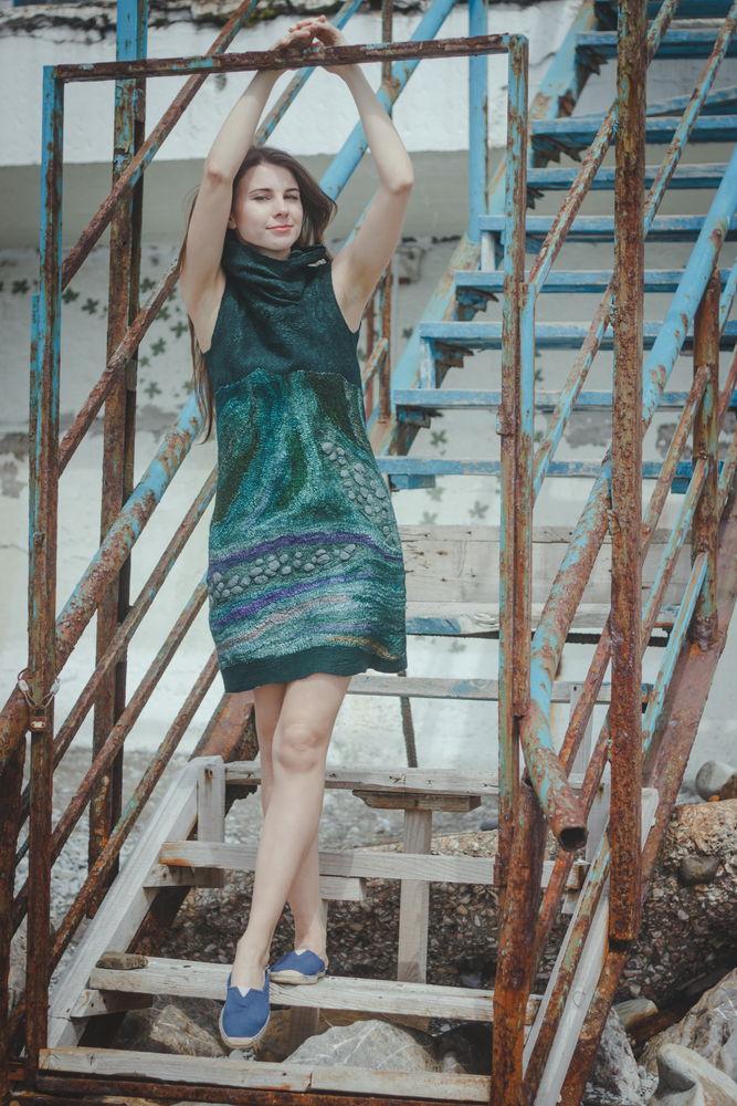 валяние одежды, нуновойлок, шерсть, валяное платье