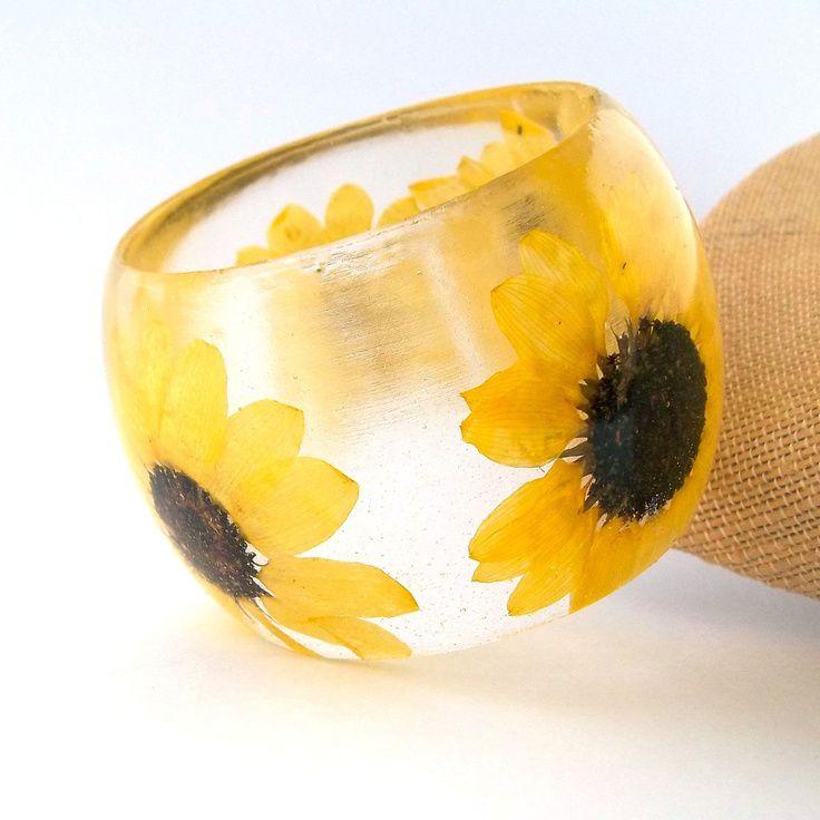Sunflower Bangle -  Super Chunky Statement Bangle.  Yellow Botanical Resin Bracelet.  Pressed Flower  Bangle with Real Flowers.. $46.00, via Etsy.