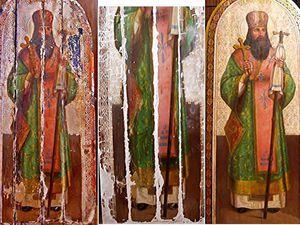 Пример реставрации иконы Святой Феодосий   Ярмарка Мастеров - ручная работа, handmade
