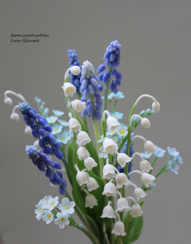 полимерная глина, цветы из глины, керамическая флористика
