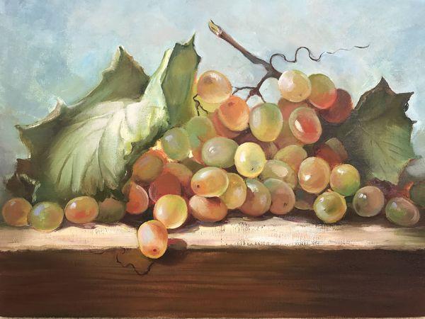 Пишем поэтапно натюрморт с виноградом | Ярмарка Мастеров - ручная работа, handmade