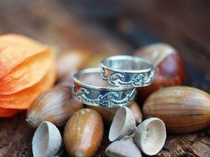 Парные кольца Волна, серебро 925 пробы с чернением. Ярмарка Мастеров - ручная работа, handmade.