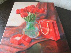 """Новая работа! Картина """"Майское настроение. Тюльпаны."""". Ярмарка Мастеров - ручная работа, handmade."""