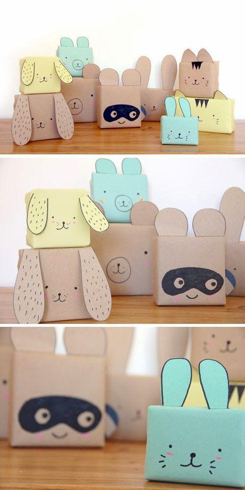 DIY: cute animal gift wrap for kids