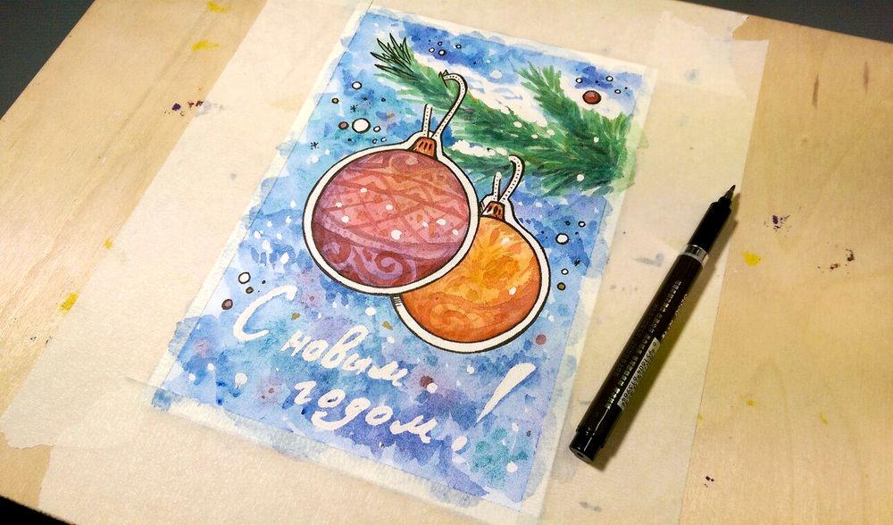 Открытка на новый год рисунок красками