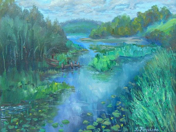 Как я писала озеро с натуры.Вологодская область.п.Кумзеро.   Ярмарка Мастеров - ручная работа, handmade
