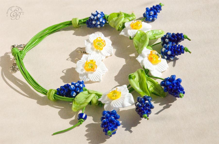лемпворк, галерея, цветы, нарциссы, белое и синее