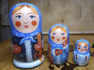 Расписываем матрешки в русском стиле «Уральская зимушка». Ярмарка Мастеров - ручная работа, handmade.