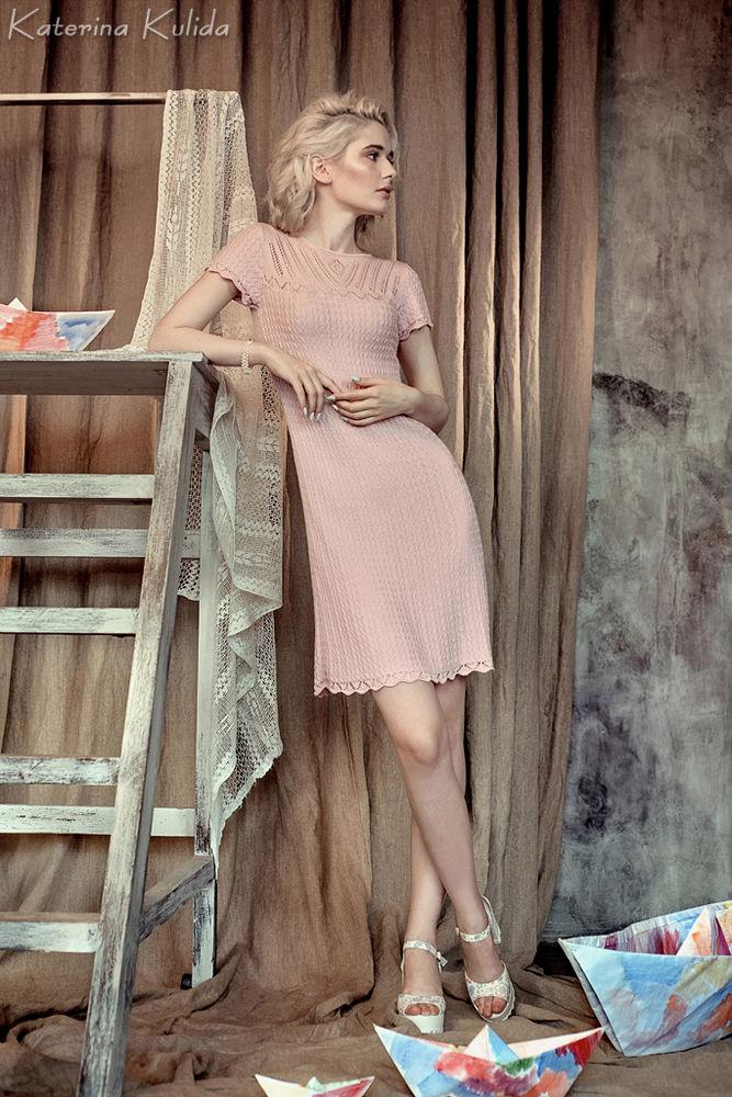 розовое платье, летнее вязаное платье, скидка 30%, готовая работа, скидка