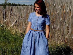 """Новая работа.Платье из хлопка """"ДАША""""Горошки в наличии. Ярмарка Мастеров - ручная работа, handmade."""