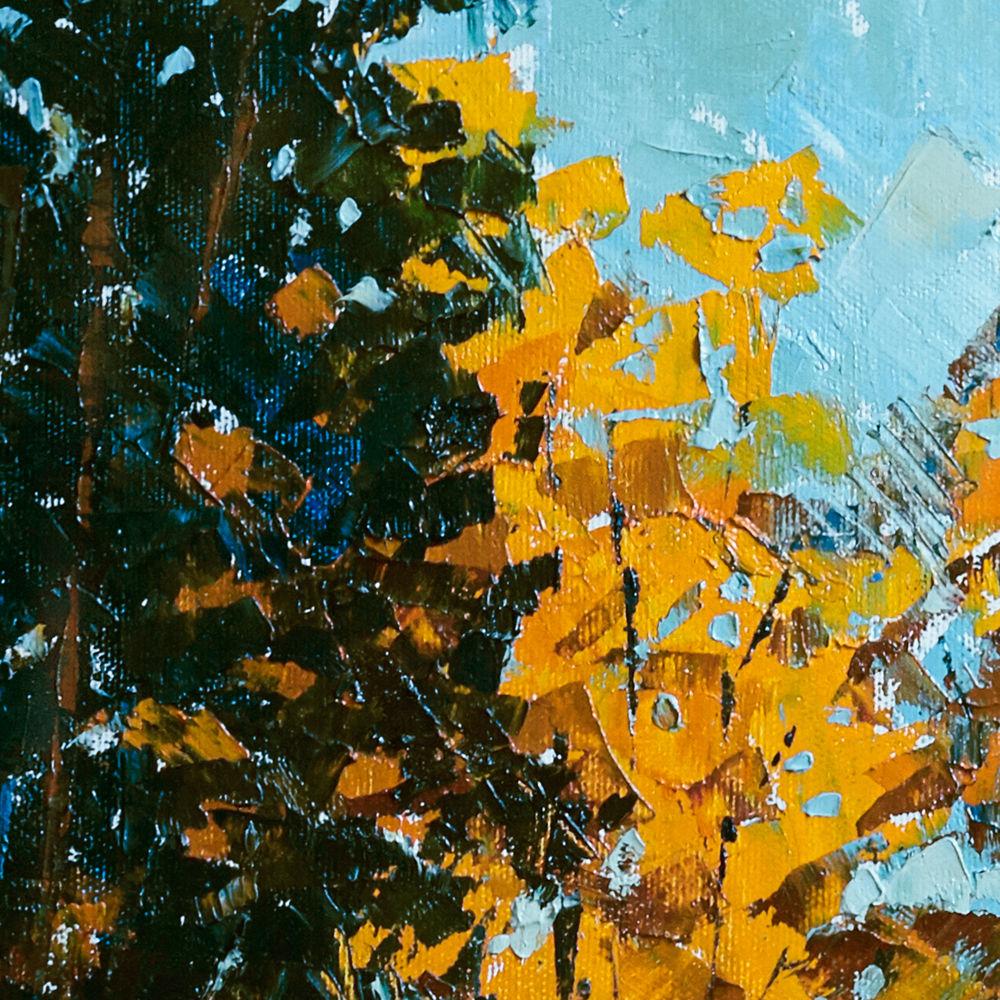 картина осень, яркая картина, пейзаж маслом, новая работа, оранжевый