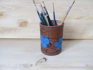 Делаем кожаную карандашницу с тиснением. Ярмарка Мастеров - ручная работа, handmade.