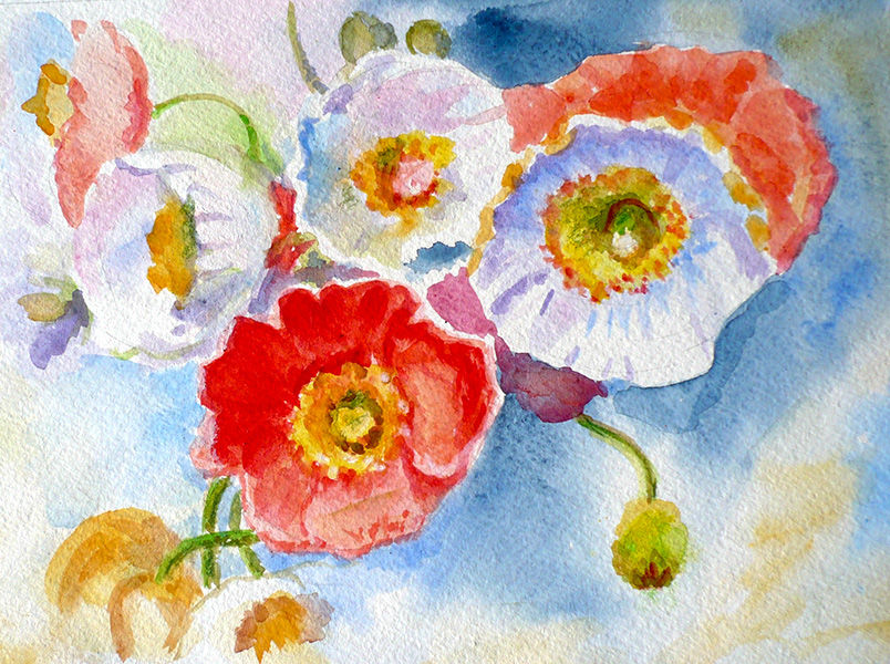 акварель, скидки на картины, скидки 20%, акварельная картина, цветочная картина