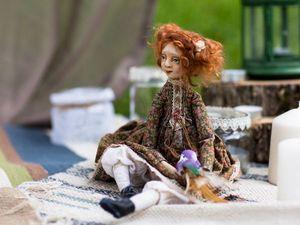 Рыжая девочка с птичкой | Ярмарка Мастеров - ручная работа, handmade
