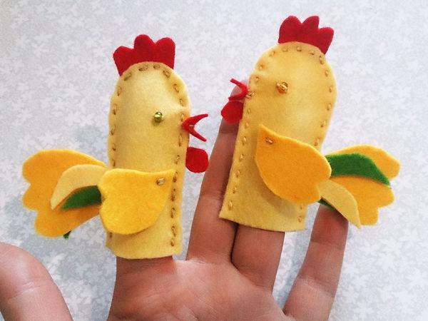 Шьём из фетра пальчиковую куклу «Петушок»   Ярмарка Мастеров - ручная работа, handmade