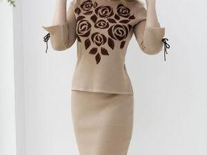Аукцион на вязаный костюм с декором ручной работы! Старт 3000 р. !. Ярмарка Мастеров - ручная работа, handmade.