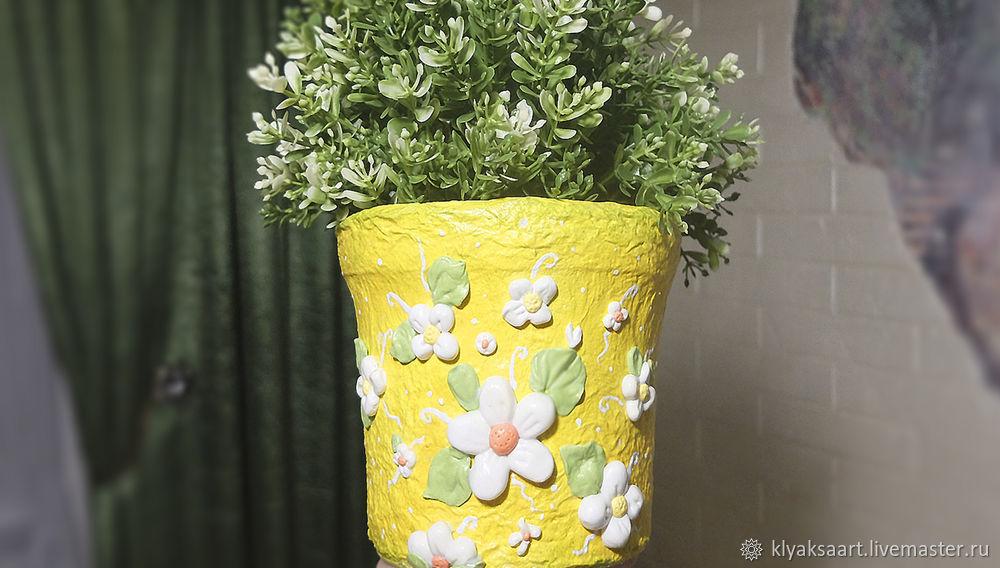 pot from a plastic bucket, flowerpot