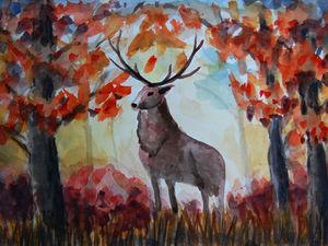 Рисуем осенний пейзаж с оленем. Видео мастер-класс. Ярмарка Мастеров - ручная работа, handmade.