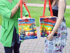Результаты мастер-класса по росписи льняных сумочек. Ярмарка Мастеров - ручная работа, handmade.
