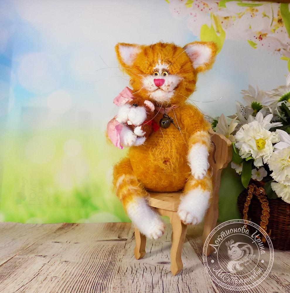 вязаные игрушки, кот рыжыйкот