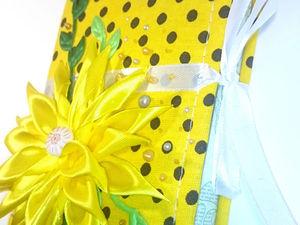 Текстильная шоколадница с цветком в стиле «Кanzashi». Ярмарка Мастеров - ручная работа, handmade.