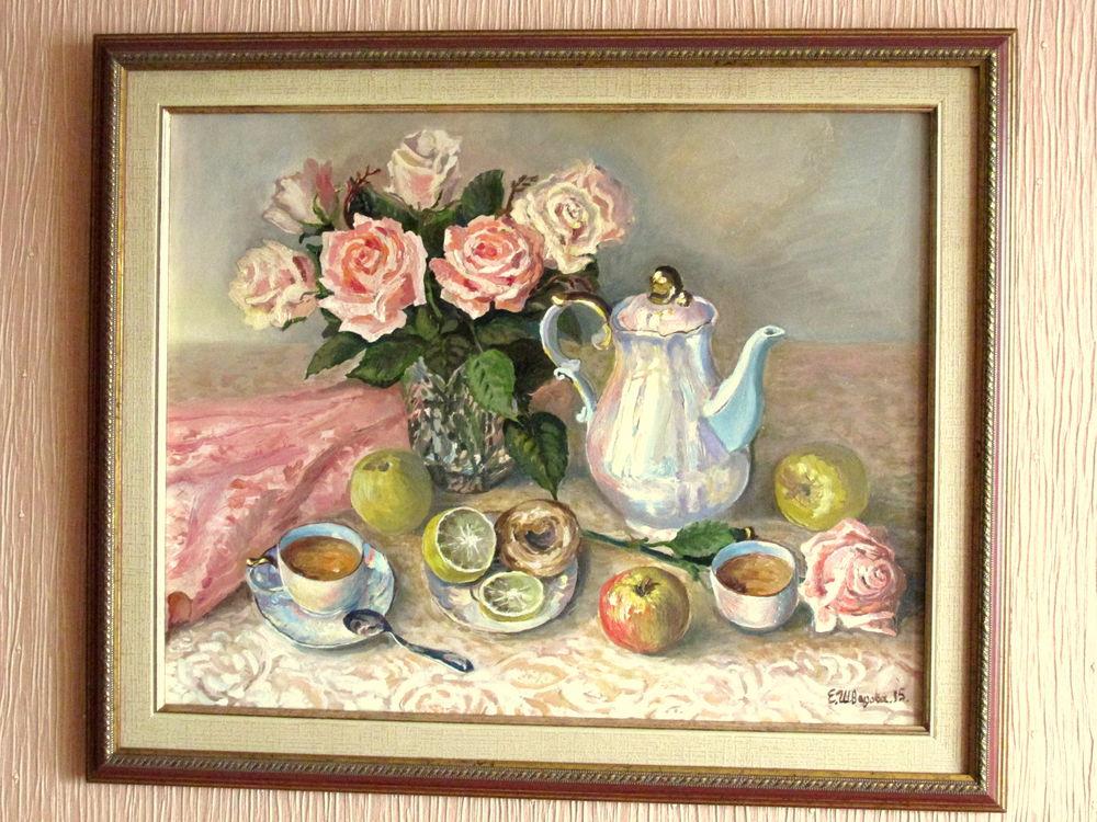натюрморт маслом, розы, багет, картина для интерьера, авторская живопись, кремовый, перламутр, чаепитие