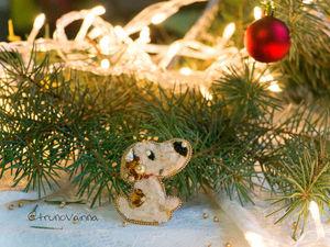 Брошь-собачка, новогодние настроение. Ярмарка Мастеров - ручная работа, handmade.