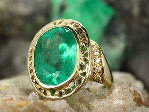 Незабываемое потрясающие коктейль кольцо изумруд с бриллиантами!! | Ярмарка Мастеров - ручная работа, handmade