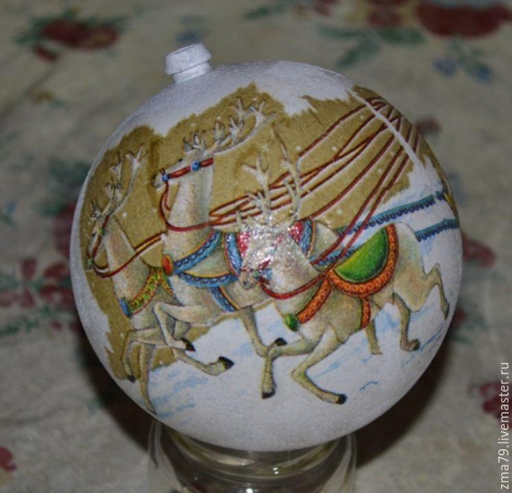 новогодний шар, декупаж