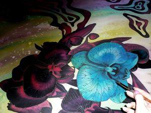 Товар дня!Скидка 1000 рублей!Шёлковый платок батик, Дикие орхидеи,натуральный шёлк 112-112 см. Ярмарка Мастеров - ручная работа, handmade.