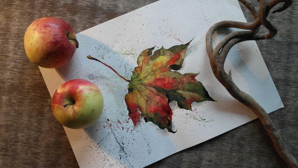 листья, осень, рисунок, акварельная картина