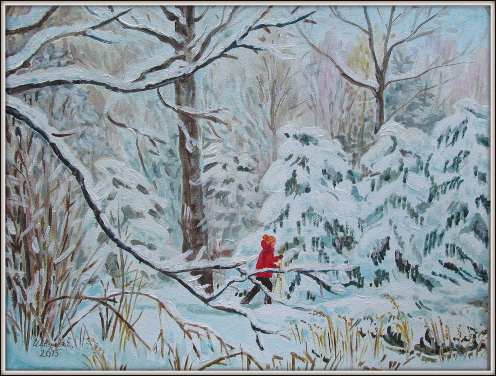многолотовый аукцион, аукцион, аукцион сегодня, зимний пейзаж, картина акрилом