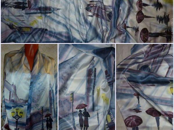 Супер Цена!!!!лондонский Дождь.(палантин) 192-47 см.100%шелк , Атлас.холодный батик. | Ярмарка Мастеров - ручная работа, handmade