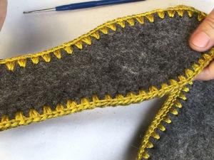 Подготавливаем подошву для вязаной обуви. Обвязка стельки крючком. Ярмарка Мастеров - ручная работа, handmade.