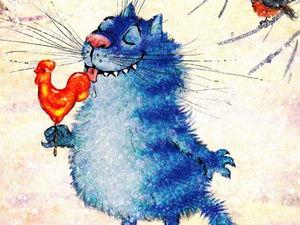 Синие коты счастья Ирины Зенюк | Ярмарка Мастеров - ручная работа, handmade