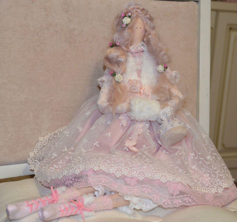 кукла ручной работы, розовый, кружево