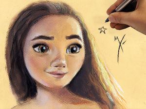 Рисуем пастелью Моану из одноименного анимационного фильма. Speed painting. Ярмарка Мастеров - ручная работа, handmade.