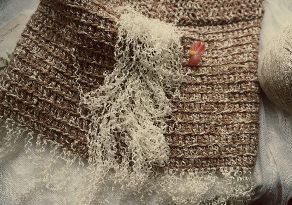 вязание, вязание спицами, воротник, шарф, шарф снуд, бежевый, бахрома, бохо, кружевной, стильный аксессуар