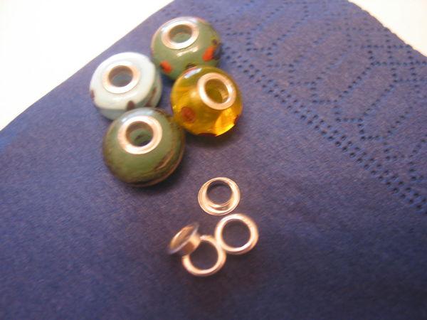 Вставки серебряные 925 для бусин  (люверсы) отверсте 4,7 мм.(3/16