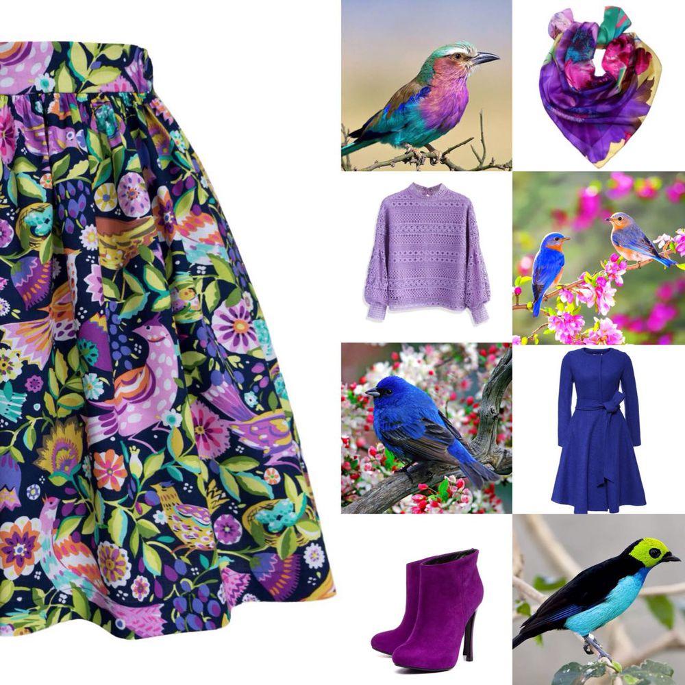 новинки, юбка короткая, мини юбка, яркие краски, яркая юбка, синяя юбка, птички