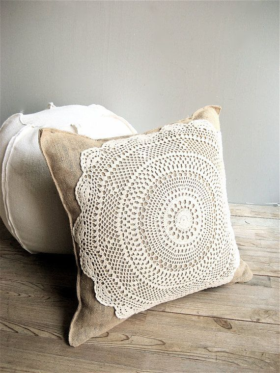 Burlap Doily Pillow Cover by lovintagefinds on Etsy,