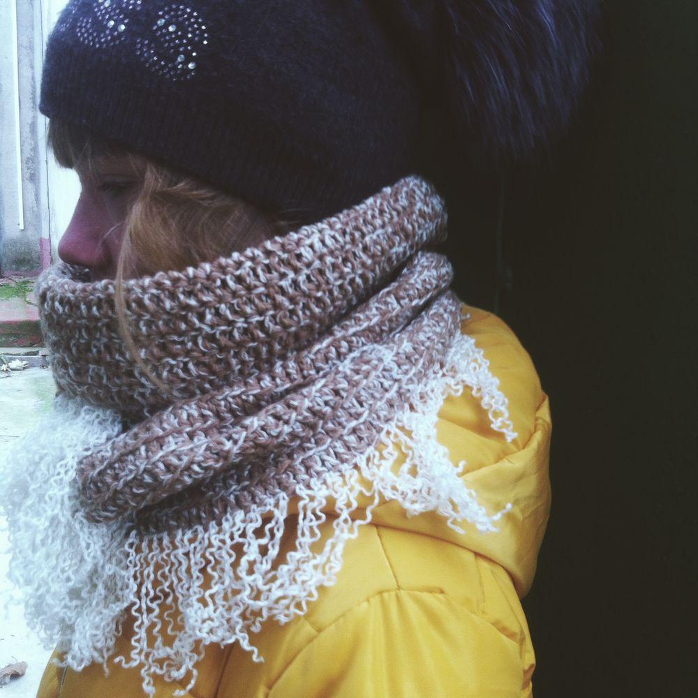 бежевый, шарф труба, купить шарф, бахрома