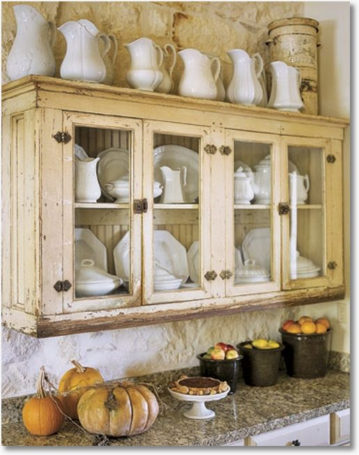old cabinet with white ironstone collection.....