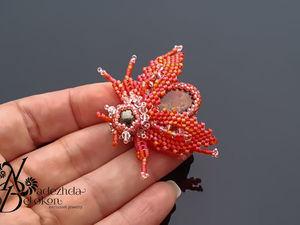Аммолитовый жучок кораллового цвета. Брошь. Ярмарка Мастеров - ручная работа, handmade.