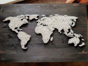 Весь мир из нитей и гвоздей: создаем карту мира в стиле String Art. Ярмарка Мастеров - ручная работа, handmade.