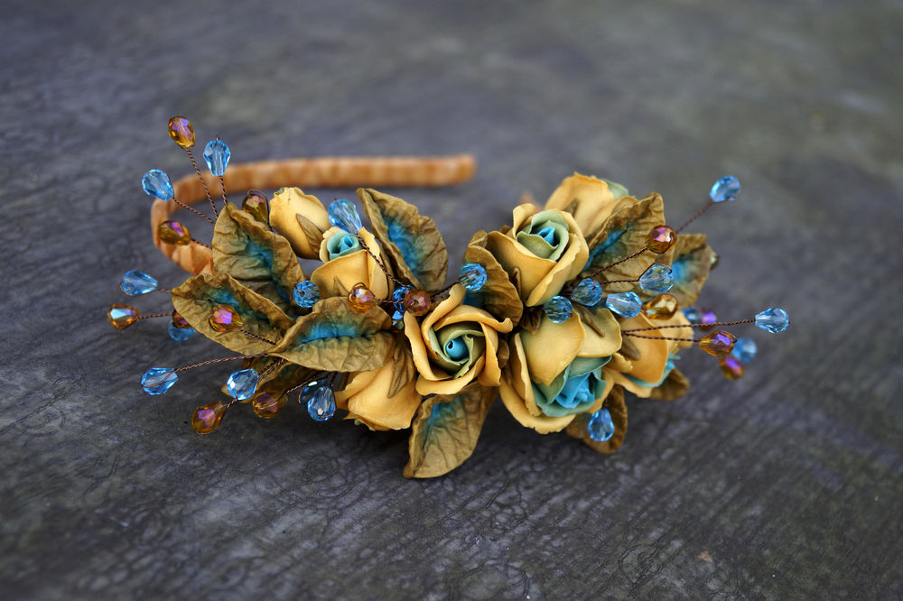 мастер-класс, цветы из полимерной глины, мк, ободок с розами